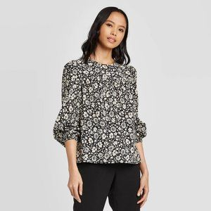 Who What Wear Floral Print Balloon Sleeve Blouse